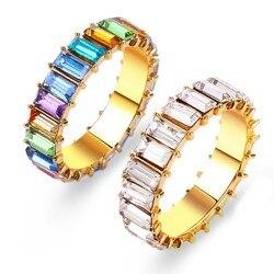 2019 nowe Dainty Rainbow Rings kolorowe obrączki dla kobiet moda kobiety biżuteria Eternity Square bagietka Ring Finger