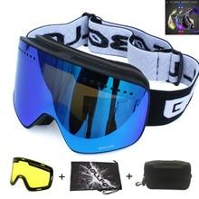 Snowboard Goggles Case Ski-Glasses-Set Magnetic Eyewear Lens Anti-Fog Double-Layers Women