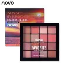 NOVO 16 Colors Matte Shimmer Glitter Eyeshadow Palette Smoky Nude Eyes Makeup Ey