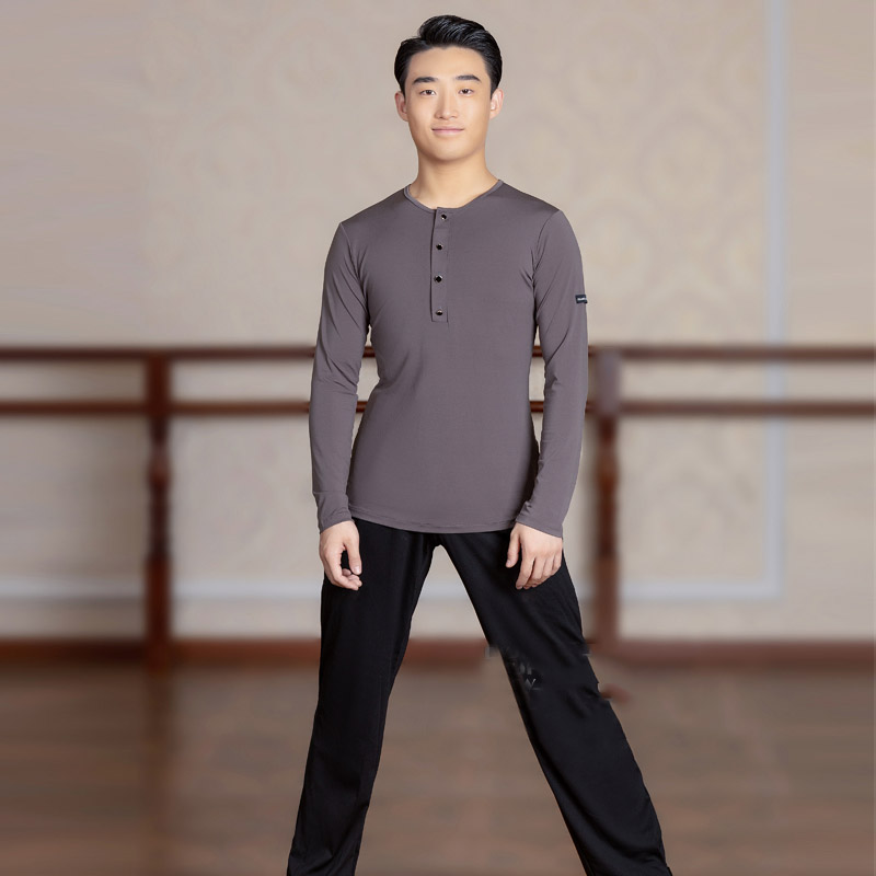 Adult Men'S Latin Dance Tops Long / Short-Sleeved Shirt Professional Ballroom Cha Cha Dancing Practice Wear Man Shirts DL5232