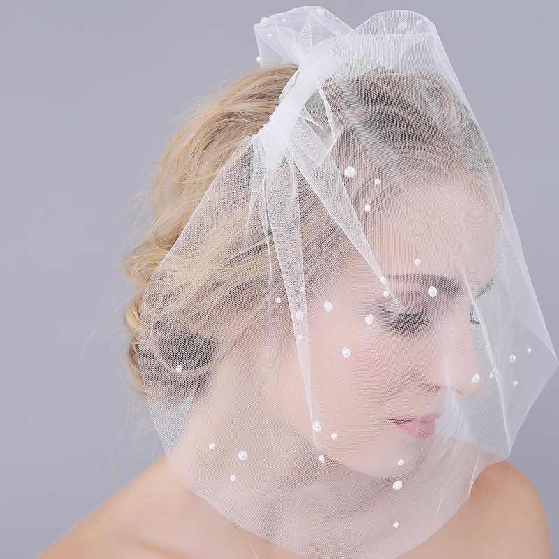 Alilove Einfache Luxus Gesicht hochzeit schleier großhandel frauen stirnband braut schleier trim handgemachte hälfte perle party fan schleier