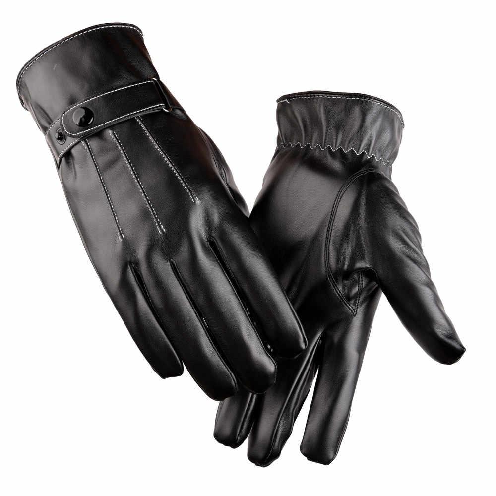 Carprie luvas homens de couro luxuoso inverno super condução luvas quentes proteger as mãos handschoenen rekawiczki luvas de motocross quente