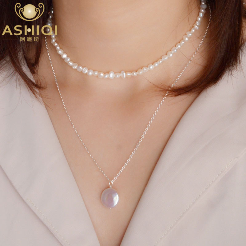 ASHIQI Natural Baroque Coin Pearl 925 Sterling Silver Choker Necklace Fashion Multi Layer Freshwater Pearl Pendant  For Womam