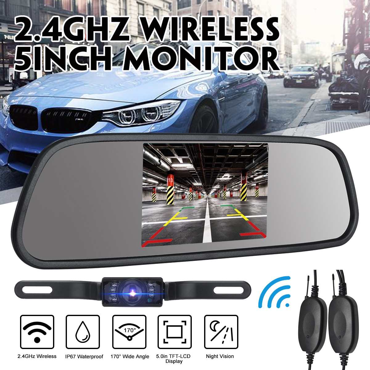 2.4Ghz Wireless Car Rear View Backup Camera 5 Inch LCD Monitor Mirror IP67 Waterproof Car Reverse Camera Parking Reverse Kit