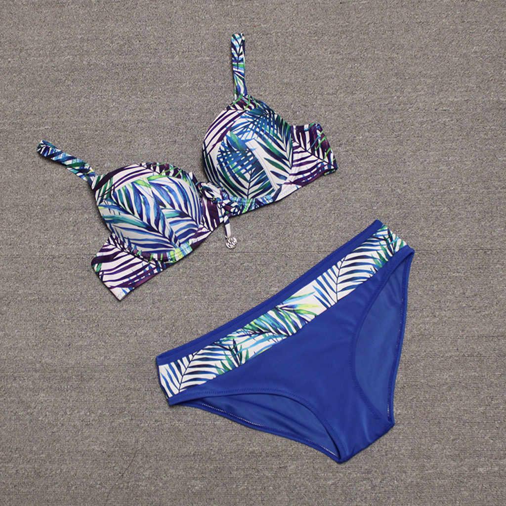 Bohême Style été séparé maillot de bain femmes Sexy Tankini 2020 plage bain Bikinis ensembles femme Push Up maillots de bain bikini rembourré