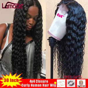 Lemoda 4x4 Closure Wig 30 Inch Curly Human Hair Wig For Black Women Deep Part Preplucked Brazilian Remy Hair Lace Closure Wig(China)
