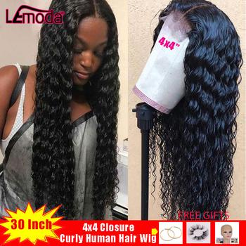 Lemoda zamknięcie 4 #215 4 peruka 30 Cal kręcone ludzkie włosy peruka dla czarnych kobiet głębokie część pre oskubane brazylijski Remy włosy uzupełnienie splotu włosów lace Closure peruka tanie i dobre opinie Długi Koronki przodu peruk Ludzki włos Ręka wiążący Wszystkie kolory Swiss koronki 1 sztuka tylko Średni brąz Brazylijski włosy