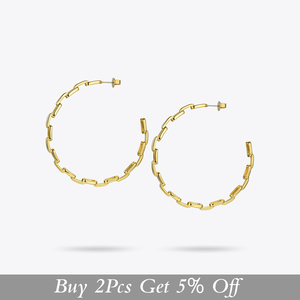 Image 2 - Enfashion Pure Form Link Chain Hoop Earrings For Women Big Circle Hoops Gold Color Earings Jewelry Aros Orecchini Cerchio EF1083