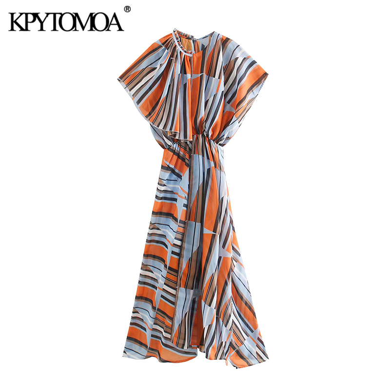 KPYTOMOA Women 2020 Chic Fashion Color Striped Chiffon Maxi Dress Vintage Elastic Waist Asymmetric Side Vents Female Dresses