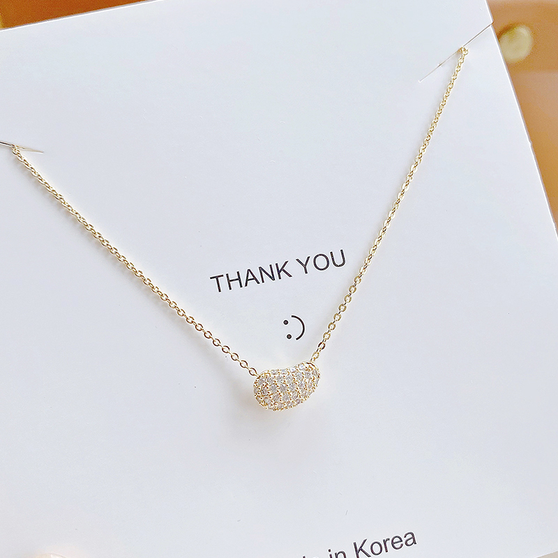 Ins Hot Sale Cute Tiny Exquisite Micro Inlaid CZ Beans Women Necklace Bling Zirconia Creative Stylish Colar Kolye Jewelry Gift