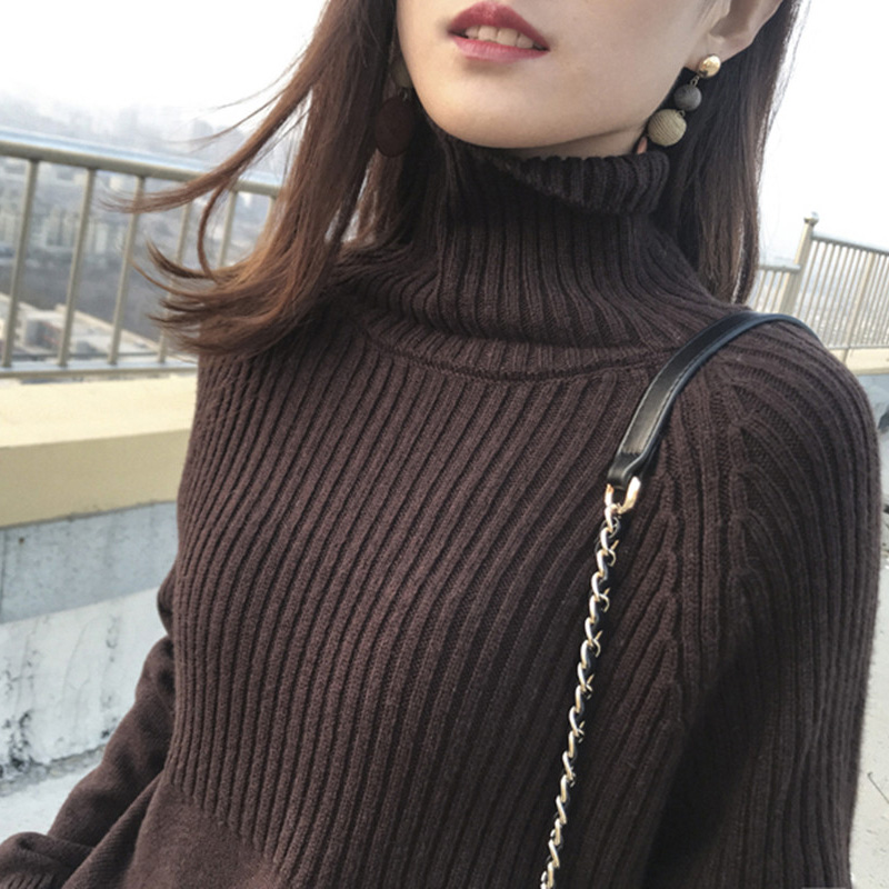 Sweater Women Turtleneck Pullovers Solid Stretch Striped Korean Top Knit Plus Size Harajuku Fall 2020 Winter Clothes Beige Khaki 7