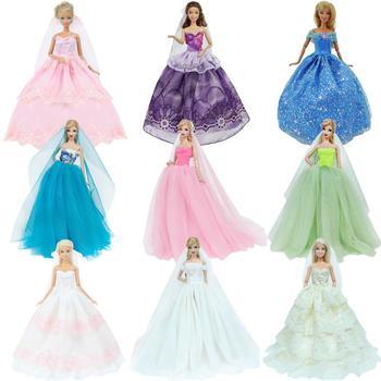 Suknia ślubna ręcznie wykonana księżniczka wieczorowa balowa długa suknia spódnica welon ślubny ubrania dla Barbie akcesoria dla lalek boże narodzenie DIY zabawki tanie i dobre opinie BJDBUS Cloth CN (pochodzenie) Fit for 11 5 -12 (30cm) doll Dziewczyny Moda PACKAGE NOT INCLUDING DOLL Depend on your selection