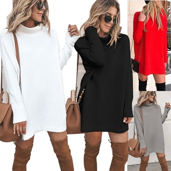 2020 New Autumn White Knitted Dress Casual Turtleneck Long Sleeve Loose Party Dress Foreign Trade Fashion Women Dresses Vestidos dresses for women 2020 fashion design loose dress batwing maxi long femme vestidos summer autumn party elegant dress