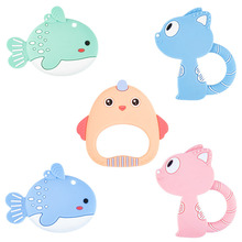 Silicone Teethers DIY Animal Fish Baby Ring Teether Infant Baby