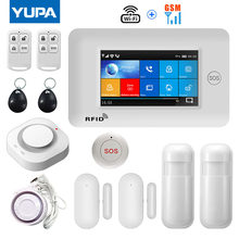 YUPA 4.3inch Full Touch Screen Wireless 433MHz WIFI GSM Home Burglar Security Alarm System With Smoke Detector SOS Button Kits