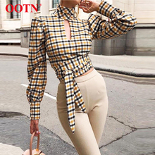 OOTN Sexy Backless Plaid Elegant Blouse Women Latern Sleeve Turtleneck Lace Up Bow Color Block Shirt Hole Vintage Autumn Blouses