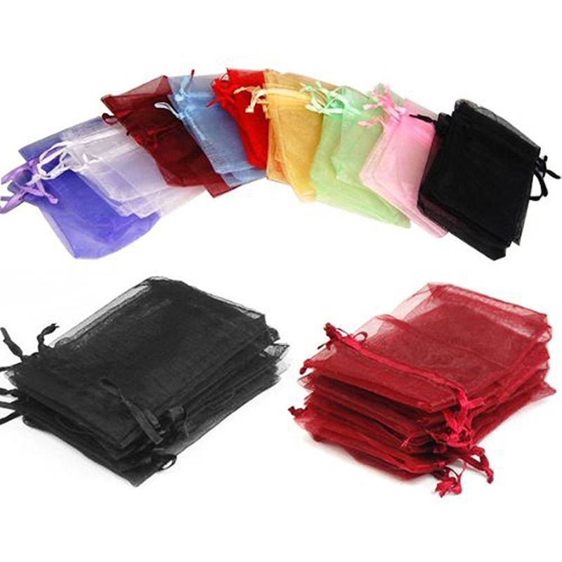 100PCS Mesh Sheer Organzar Gift Bag 11Size Wedding Christmas Party Candy Storage Bags Jewelry Pouches Drawstring Bag Packaging