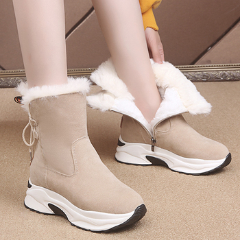 Winter Platform Boots Leather Snow Boots Female Casual Shoes Fur Woman Booties Black Lace-Up Ankle Boot Botas Mujer autumn winter ankle boots women platform boots lace up black white leather rubber boots woman shoes comfortable women s boots