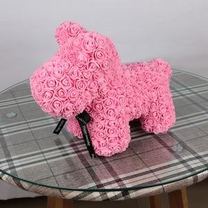 Image 5 - 40cm Rose Hond Multicolor Foam Teddybeer Rose Vriendin Valentijnsdag Verjaardagscadeau Partij Decoratie Kunstmatige Bloemen