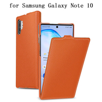 Fashion Flip Phone Cases Bag for Samsung Galaxy Note 10 Note10 Case Genuine Cow Leather Cover Skin for Samsung Note 10Plus 10+