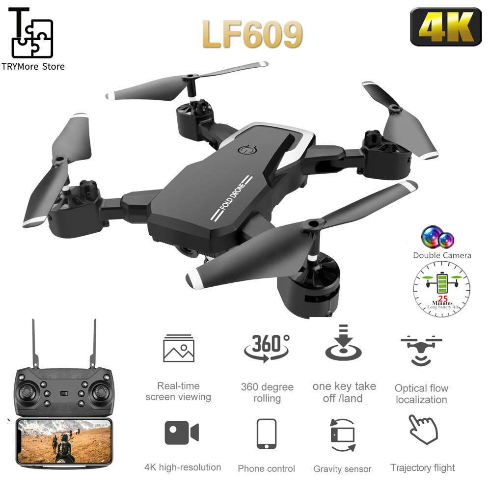 Drone Lf609 With Hd Camera Wifi 4k Dual Camera Follow Me Quadcopter Fpv Professional Drone Long Battery Toy For Kids Vs Lf606 image