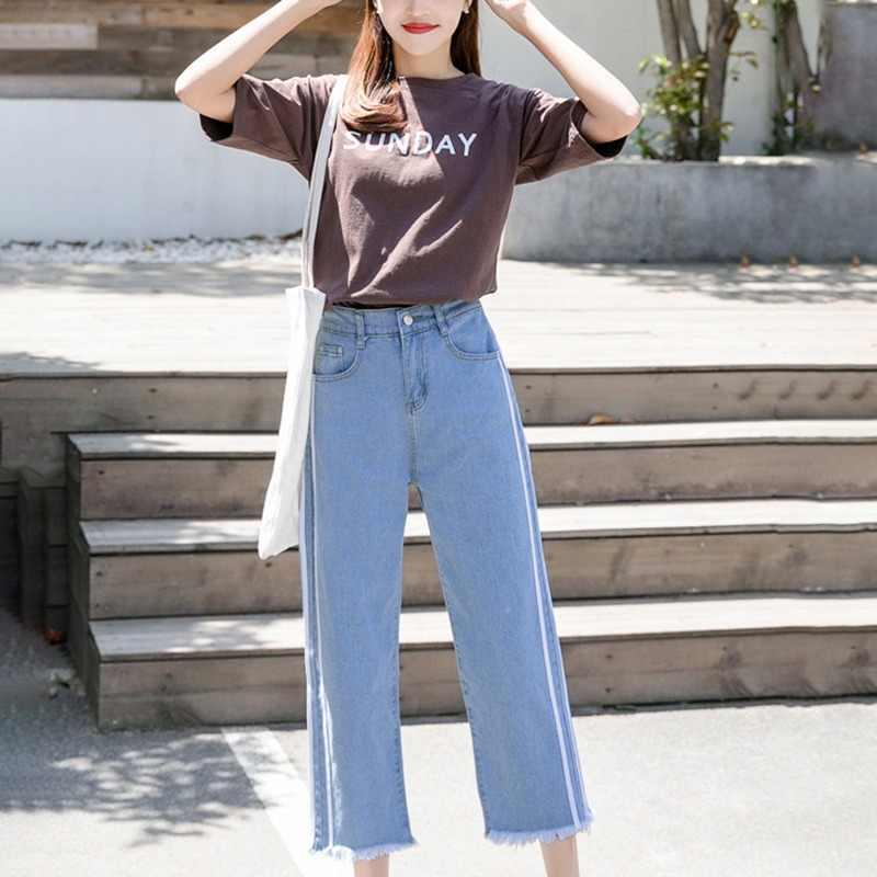 2019 autunno Pantaloni larghi del piedino elastico in vita dritto capelli nove punti dei jeans diritti allentati femminili dei capelli casuale Caviglia-Lunghezza pantaloni