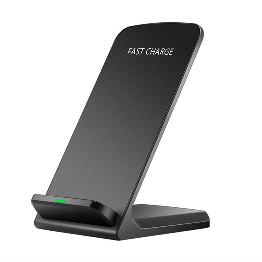 10W Portable Vertical Double Coil Wireless Charger with LED Indicator Fast Charge for Qi Standard Smart Mobile Phone