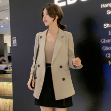 Autumn Korean retro long sleeve ladies blazer 2019 new solid color double-breasted suit female Casual office jacket Women's suit 2014 gold welding torch goldsmith equipment oxygen acetylene torch