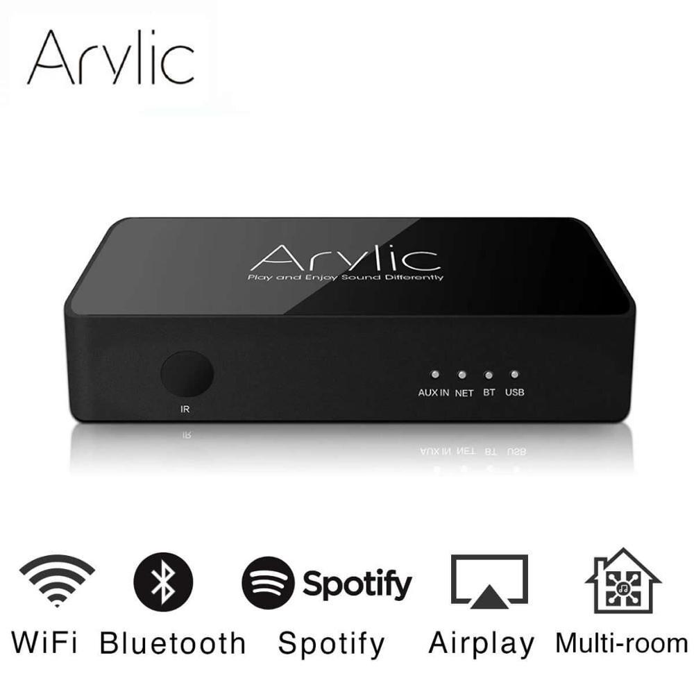 Arylic s10 wifi e bluetooth 5.0 adaptador receptor de áudio estéreo de alta fidelidade com spotify airplay dlna internet rádio multiroom aplicativo gratuito