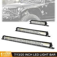 DERI barre de led ultrafine 7 13 20 pouces 60W 120W 180W double barre de ligne de lampes LED pour 4X4 ATV hors route combo voiture travail lumières barra led