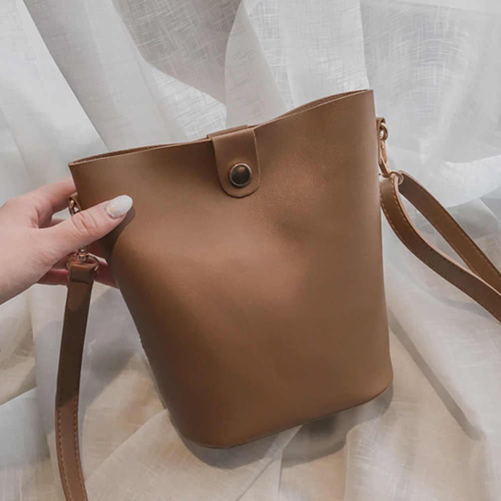 Bolsos colgantes para mujer nuevo estilo Vintage Simple Casual salvaje hombro Crossbody bolsos cartera femenina compuesto bolsa de dos piezas conjunto bolsa de cubo