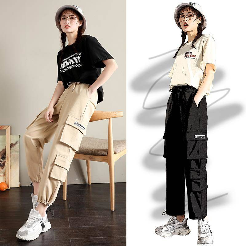 Cool Khaki Cargo   Pants   Women Hip Hop Streetwear Track   Pants     Capris   Elastic High Waist Trousers Female Autumn Black Sweatpants