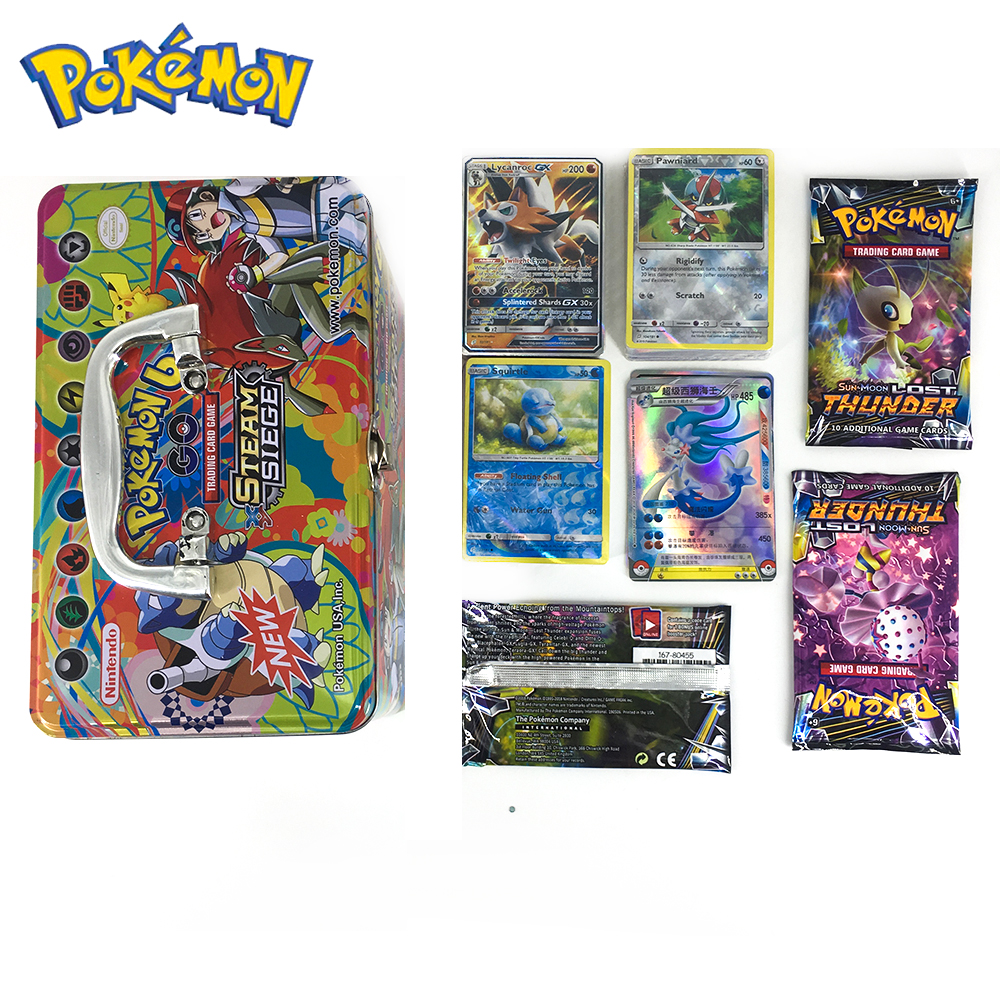 Pokemon GX EX MEGA Cover Flash Card 3D Version SWORD SHIELD SUN&MOON Portable Big Iron Box Card Collectible Gift Children Toy