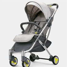 лучшая цена High Landscape Stroller Two-way Can Sit Reclining Ultra-light Portable Folding Shock Four-wheeled Baby Trolley