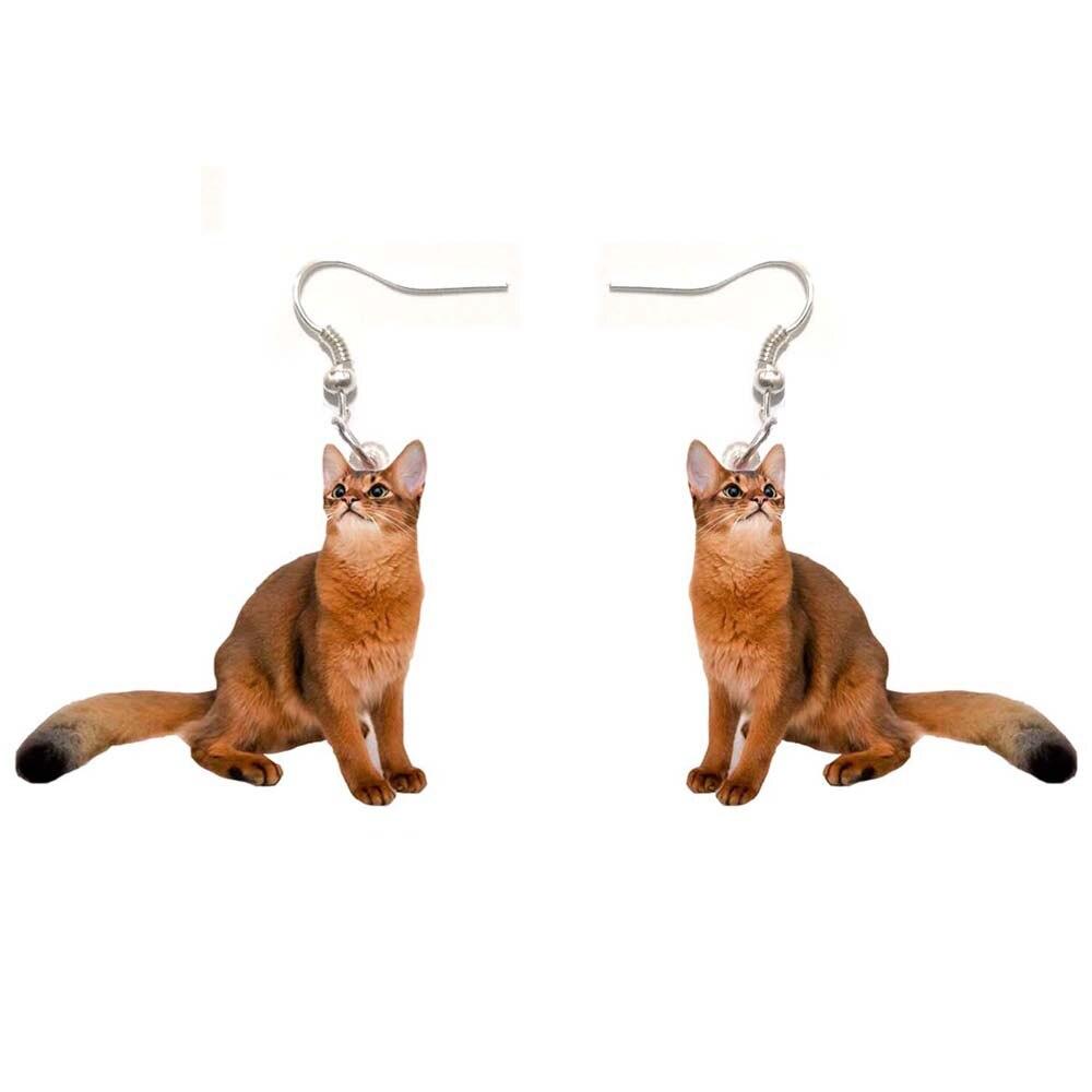 Abyssinian Cat Acrylic Earrings Cat Fashion Women Ladies Girl Gift Jewelry Dangle Pendant Big Drop Fly Wing Bird Earring Party