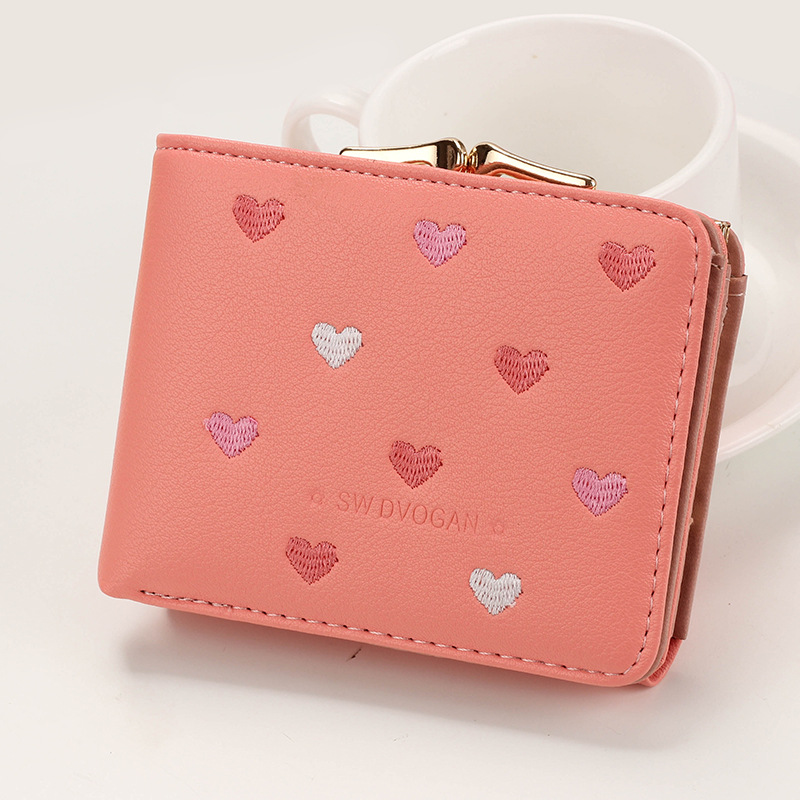 Japanese Multi-function Women's Mini Wallet Candy Color Heart-shaped Embroidery Women Short Wallet Cute Coin Purse Card Package - Цвет: OrangePink