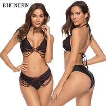 New Sexy Crown Insert Bikini Women Swimsuit Strappy Bandage Bathing Suit S-XL Girl Solid Black Swimwear 2Pcs Backless Set