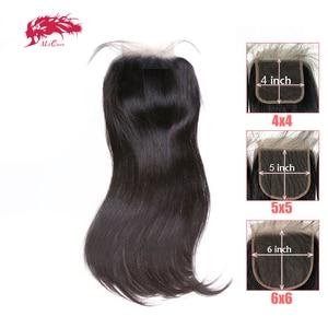 "HD Transparent 4x4/5x5/6x6 Lace Closure Brazilian Straight Remy Human Hair 10""-20"" Ali Queen Hair Free Part XP/10A Lace Closure(China)"