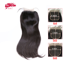 HD شفافة 4x 4/5x 5/6x6 الدانتيل إغلاق البرازيلي مستقيم ريمي الشعر البشري 10 -20 علي الملكة الشعر الحرة جزء XP/10A الدانتيل إغلاق