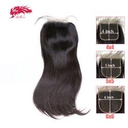 HD شفاف 4x4/5x5/6x6 الدانتيل إغلاق البرازيلي مستقيم ريمي الشعر البشري 10 -20 علي الملكة الشعر الحرة جزء XP/10A الدانتيل إغلاق