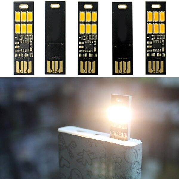 Mini USB Power 6 LED Light Pocket Card Lamp Portable Night Camp Bulb Computer Laptop Night Light