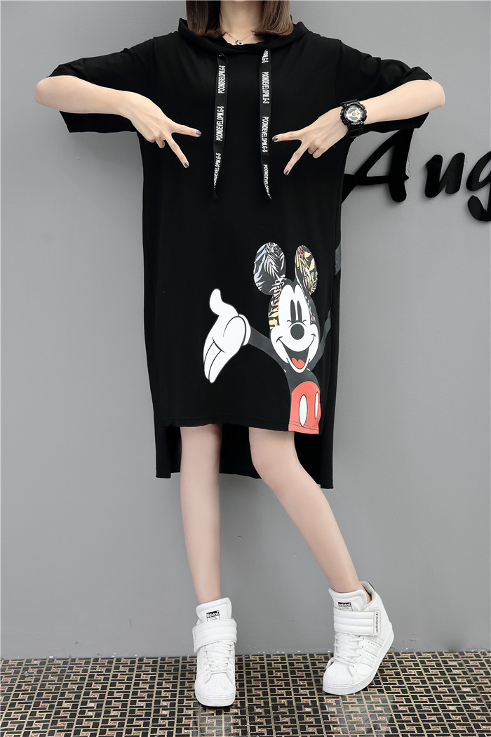 H520c5edab2594ad5ad141c420c854be7B - New Runway short sleeve Hooded Sweatshirt dress casual mickey cartoon printed women femme oversize dresses vestidos