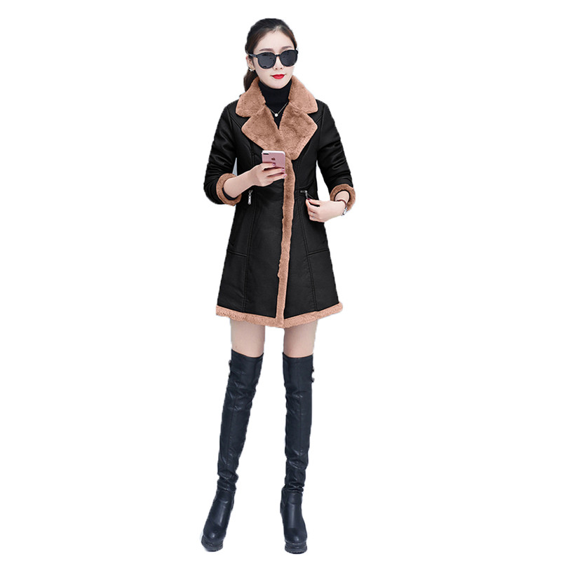 Faux   leather   coat women M-3XL plus size long PU jacket autumn winter new long sleeve lapel fashion plus velvet warmth coat LR687