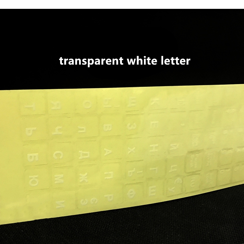 1PCs Russian Transparent Keyboard Stickers Russia Layout Alphabet Black White Label Letters for Notebook Computer PC Laptop-4