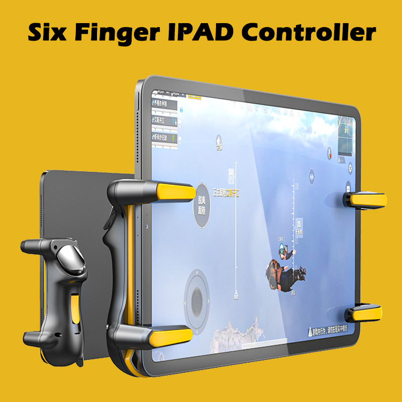 Seis dedo ipad pubg controlador de capacitância ajustável jogo móvel gatilho l1r1 botão gamepad joystick aperto tablet acessórios|Gamepads|   -