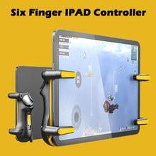Seis dedo ipad pubg controlador de capacitância ajustável jogo móvel gatilho l1r1 botão gamepad joystick aperto tablet acessórios