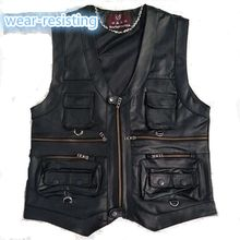 2020 New gentlement leather vest male slim commercial male leather vest sheepskin leather men vest waistcoat with many pockets