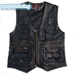 Image 1 - 2020 New gentlement leather vest male slim commercial male leather vest sheepskin leather men vest waistcoat with many pockets