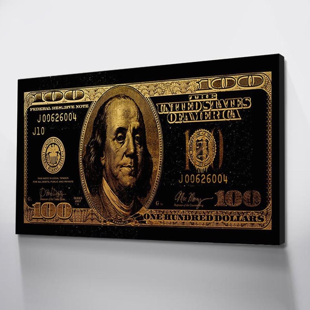 1 шт. Печать на холсте Скандинавское украшение черный плакат Настенные картины для комнаты Холст Искусство доллар золото холст картины плак