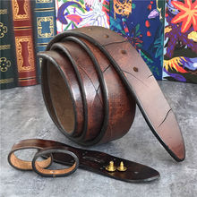 Retro Cowboy Western Belts Wide Top Thick Leather Men